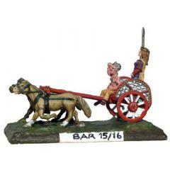 BAR15 Single Arch Chariot; ponies x2, Boudicca and driver