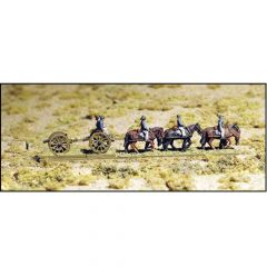 GHQ ACW16 Limbered Light Cannon, Team in Slouch Hat