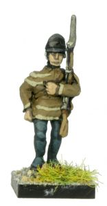 AWA3 Continental Troops in Hunting Shirt and Light Infantry Cap, marching