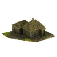 BD324 6mm Two Thatched Timber Buildings