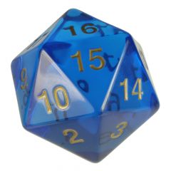Large D20, translucent blue