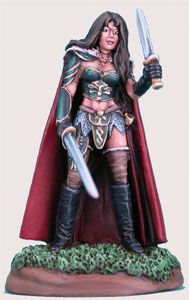 DSM1144 Elmore Masterwork, The Protector Female Fighter with Sword and Dagger