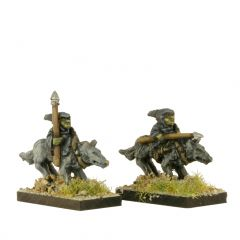 FOG406 Goblin Warriors with spears on Dire Wolves